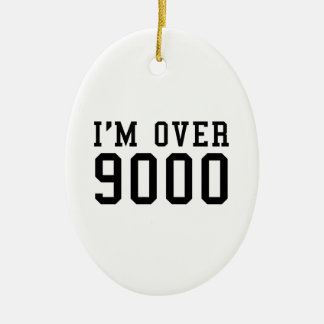 I'm Over 9000 Double-Sided Oval Ceramic Christmas Ornament