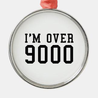 I'm Over 9000 Round Metal Christmas Ornament