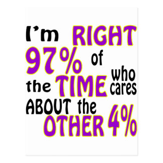 I'm Right 97% Of The Time Who Cares Postcard