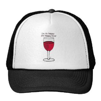 I M SO HAPPY IT S HAPPY HOUR wine print by jill Mesh Hat