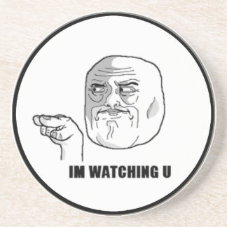 I m Watching U Comic Face Drink Coasters