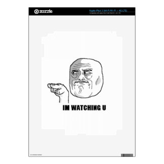 I m Watching U Comic Face Decals For iPad 3