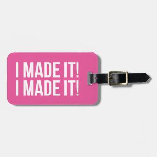 I Made It! I Made It! Personalized Pink & White Bag Tag