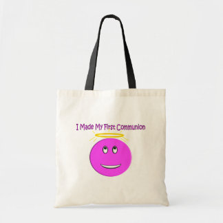 I Made My First Communion Big Pink Smiley Tote Bag