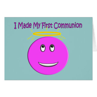 I Made My First Communion Big Pink Smiley Card