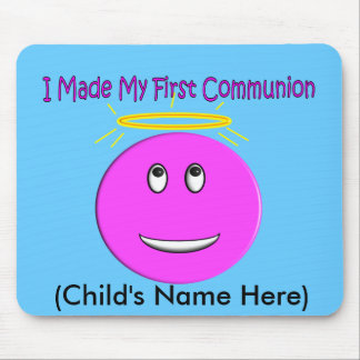 I Made My First Communion Big Pink Smiley Mouse Pad