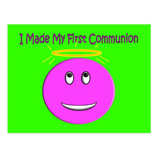 I Made My First Communion Big Pink Smiley Postcards
