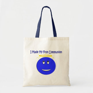 I Made My First Communion Blue Smiley Canvas Bag