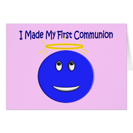 I Made My First Communion Blue Smiley Card