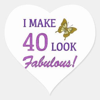 I Make 40 Look Fabulous! Heart Sticker