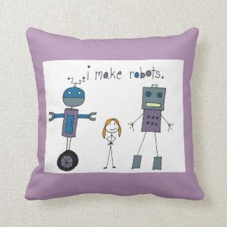 I Make Robots Pillow (Girl)