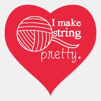 I Make String Pretty Crafts {Any Color Dark} Heart Sticker
