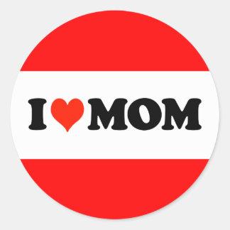 I mamá del corazón pegatinas redondas