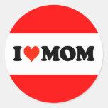 I mamá del corazón pegatina redonda