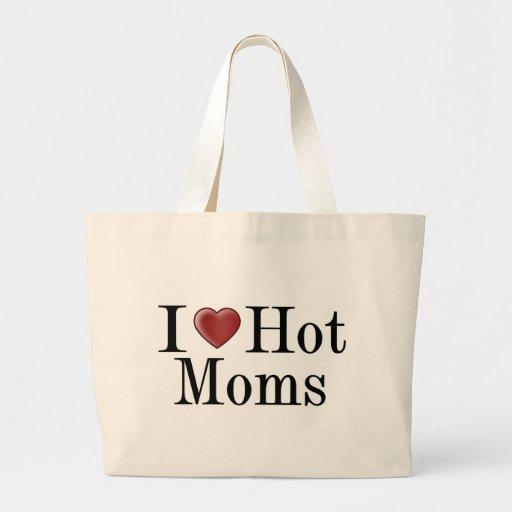 I mamáes calientes del corazón bolsa lienzo