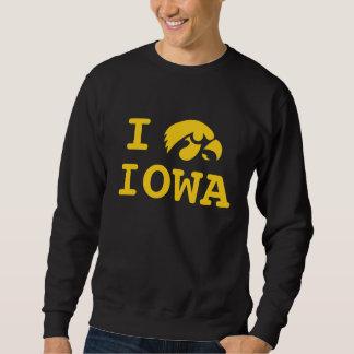 I manga larga básica de Iowa del corazón Sudadera Con Capucha
