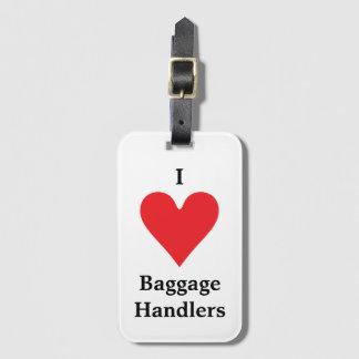 I manipuladores de equipaje del corazón etiqueta de equipaje