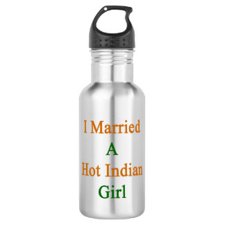 I Married A Hot Indian Girl 18oz Water Bottle