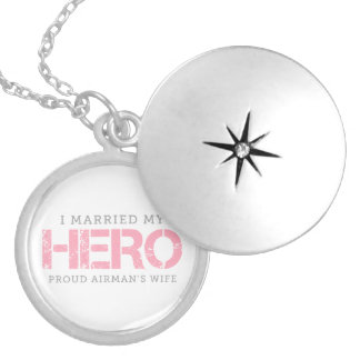 I Married My Hero - Airman's Wife Locket Necklace