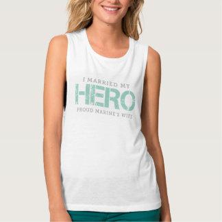 I Married My Hero - Marine's Wife Flowy Muscle Tank Top