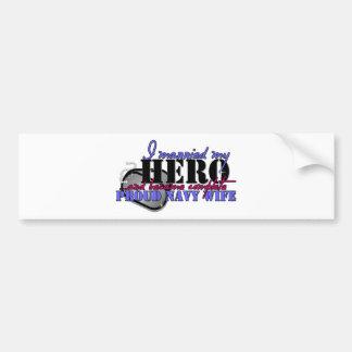 I MARRIED MY HERO NAVY BUMPER STICKER
