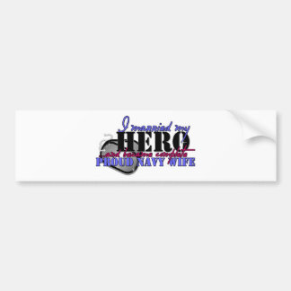 I MARRIED MY HERO NAVY BUMPER STICKERS
