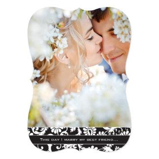 I marry my Best Friend Photo Damask Wedding Card