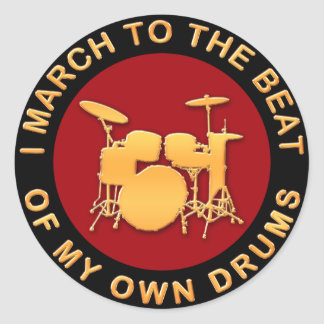 I marzo al golpe de mis propios tambores etiqueta redonda