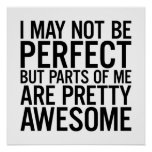 I May Not Be Perfect Funny Life Quote Poster
