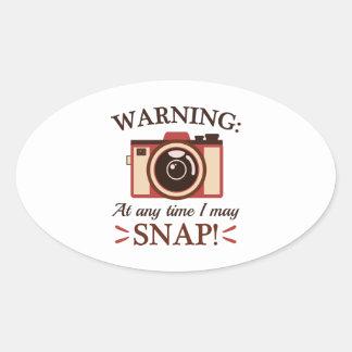 I May Snap Oval Sticker