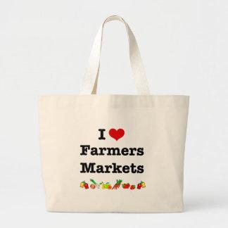 I mercados de los granjeros del corazón bolsa tela grande