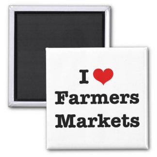 I mercados de los granjeros del corazón imán cuadrado