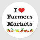 I mercados de los granjeros del corazón pegatina redonda