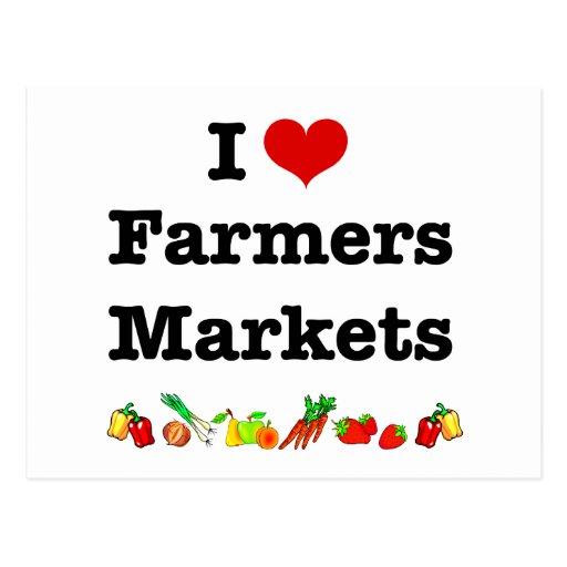 I mercados de los granjeros del corazón postales