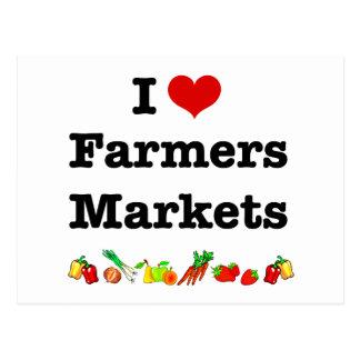 I mercados de los granjeros del corazón tarjeta postal
