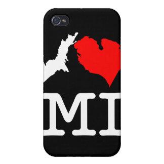 I ♥ MI (corazón Michigan) caja de iPod de I/del iP iPhone 4 Cobertura