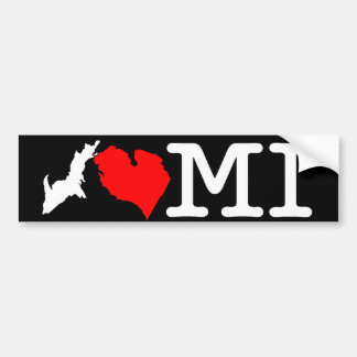 I ♥ MI (I heart Michigan) bumper sticker, white Bumper Sticker