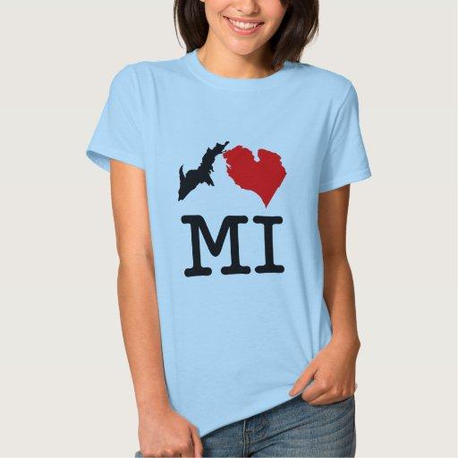 I ♥ MI (I heart Michigan) light, small print Shirt