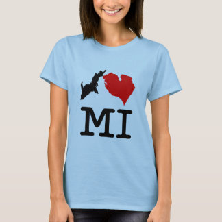 I ♥ MI (I heart Michigan) light, small print T-Shirt