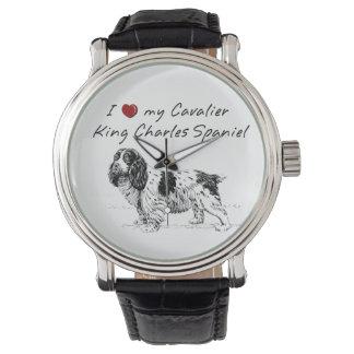 ¡❤ I mi perro de aguas de rey Charles arrogante Relojes