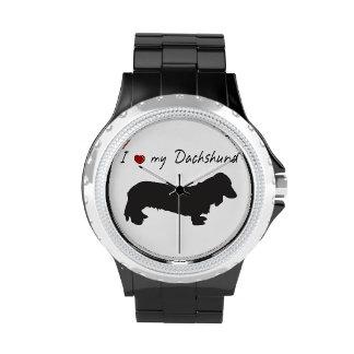 ¡❤ I mis palabras del Dachshund y gráfico precioso Relojes De Pulsera