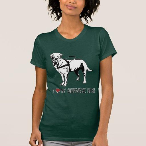 ❤ I mis palabras y gráfico del perro del servicio Camiseta