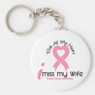 I Miss My Wife Breast Cancer Basic Round Button Keychain