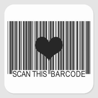 I MISS YOU BARCODE SQUARE STICKER