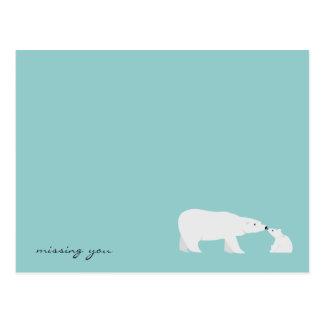 I Miss You Bear and Baby Bear Cub Postcard