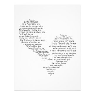 """I Miss You - Broken Separated Heart 8.5"""" X 11"""" Flyer"""