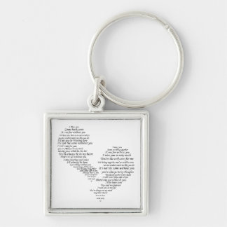 I Miss You - Broken Separated Heart Silver-Colored Square Keychain