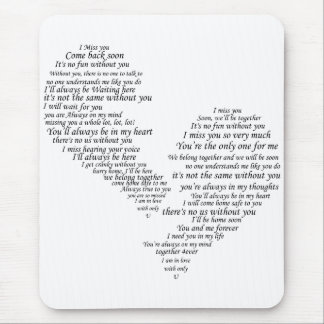 I Miss You - Broken Separated Heart Mouse Pad