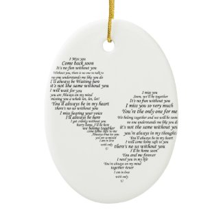 I Miss You - Broken Separated Heart ornament