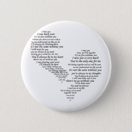 I Miss You - Broken Separated Heart Pinback Button
